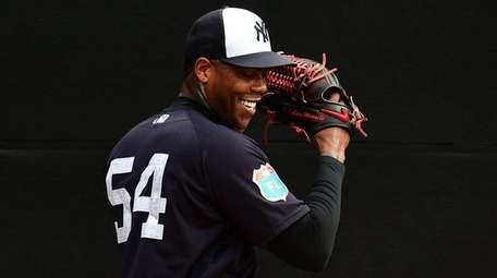 Closer Aroldis Chapman, who had an excused absence