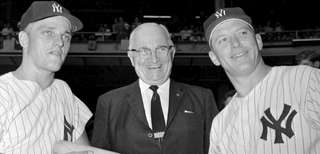 Roger Maris, left, and Mickey Mantle, right, helped