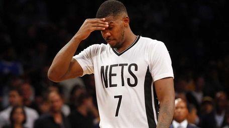 Joe Johnson of the Brooklyn Nets looks