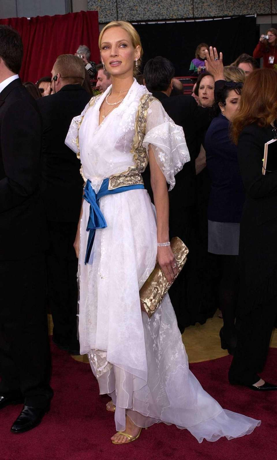Actress Uma Thurman, in Christian Lacroix, arrives at