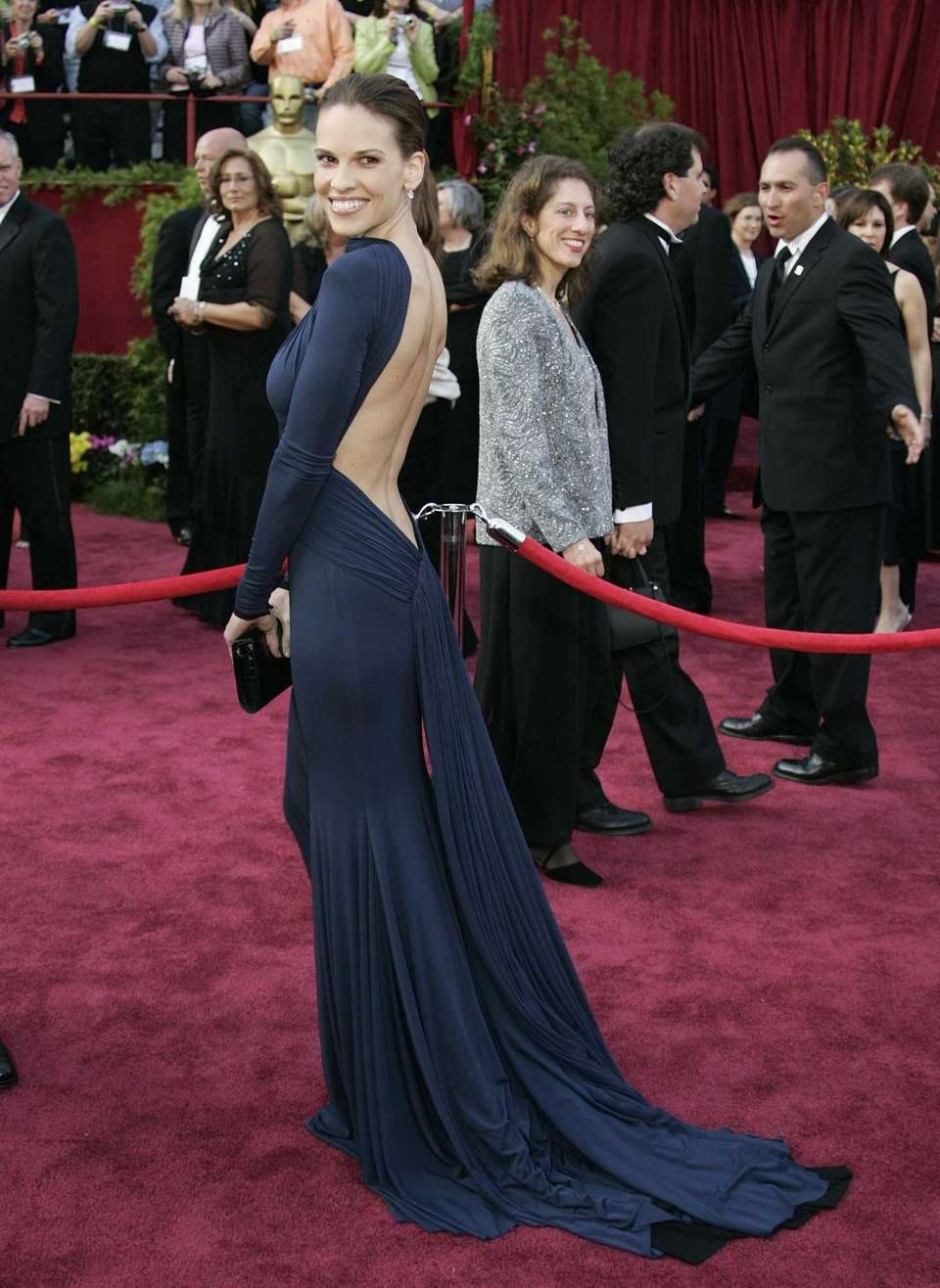 Actress Hilary Swank, in Guy Laroche, arrives for