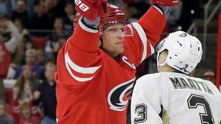 Carolina Hurricanes' Eric Staal celebrates his goal