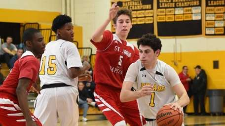 St. Anthony's guard Mike Mariconda drives the ball