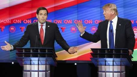 Republican presidential candidates Marco Rubio, left, and Donald