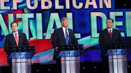 Republican presidential candidates Sen. Marco Rubio of Florida,