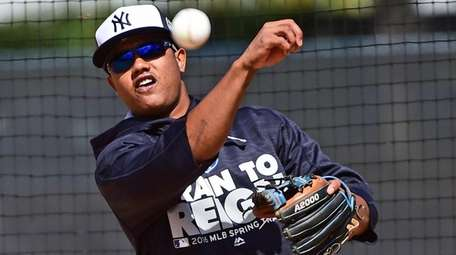 Yankees infielder Starlin Castro during spring training at