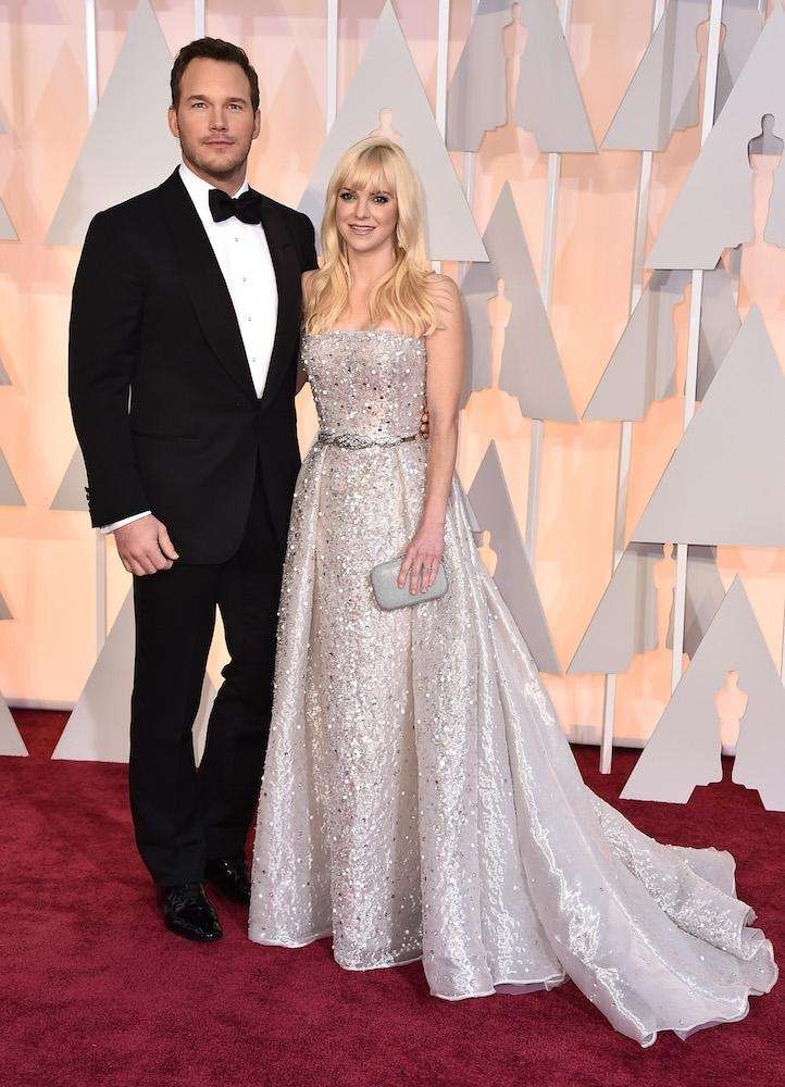 Chris Pratt and Anna Faris, in Zuhair Murad,