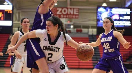 Commack guard Jaclyn DelliSanti drives the ball
