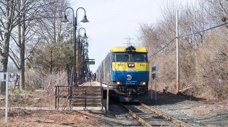 A Long Island Rail Road train is held