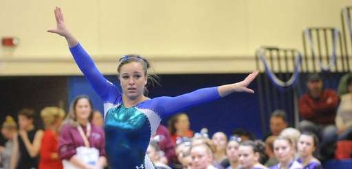 Bay Shore' Skye Harper performs her floor routine