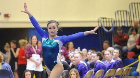 Bay Shore' Skye Harper performs her floor routine