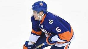 New York Islanders defenseman Ryan Pulock skates