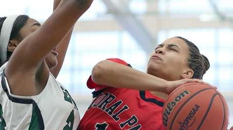 Floral Park's Kaela Hilaire gets fouled on the