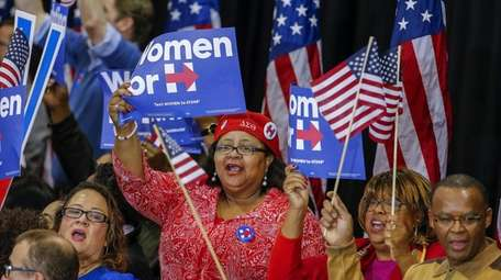 Supporters cheer as former Secretary of State Hillary