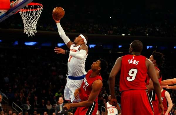 Carmelo Anthony of the New York Knicks goes