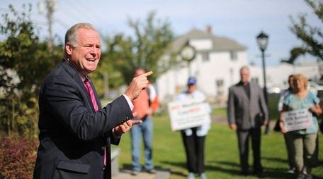 Assemblyman Michael Fitzpatrick speaks in Medford on Saturday,