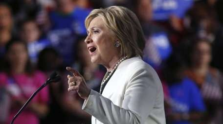 Democratic presidential candidate Hillary Clinton addresses supporters at
