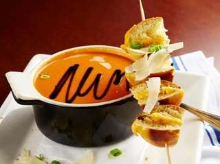Skewered mini grilled cheese sandwiches come with a
