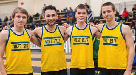 From left, West Islip's boys 4x800-meter relay