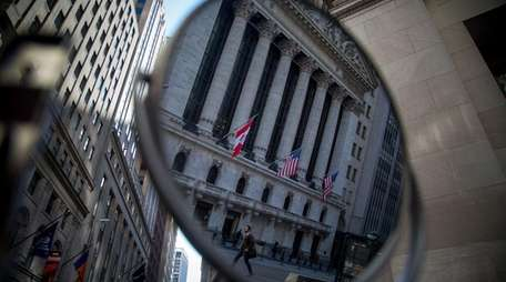 The New York Stock Exchange in reflection on