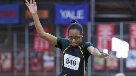 Westbury's Denisha West jumps at 38 feet and