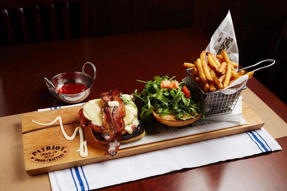 Chicken schnitzel sandwich at River Mill Tavern and
