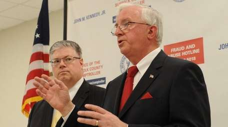 Suffolk County Comptroller John Kennedy Jr., speaks during