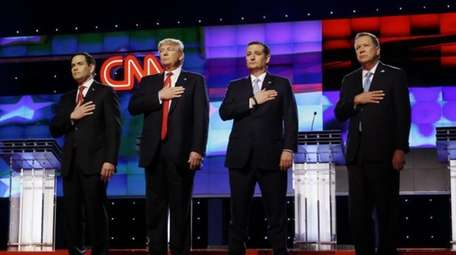 Republican presidential candidates Sen. Marco Rubio (R-Fla.), Donald