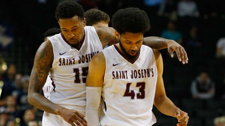 Isaiah Miles #15 and DeAndre Bembry #43