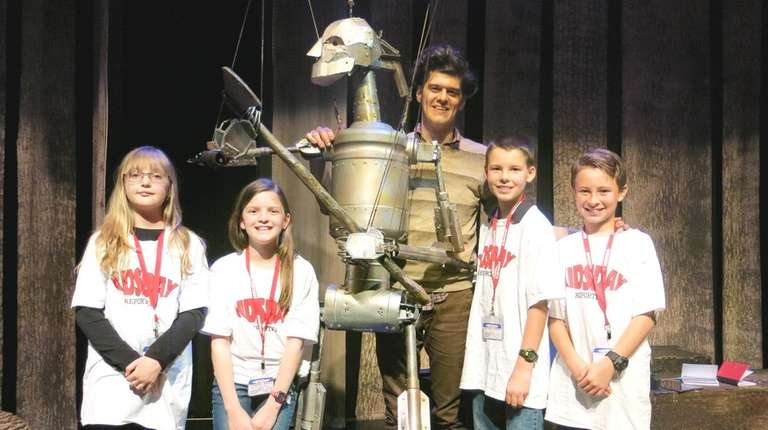 Actor James Ortiz with Kidsday reporters from left,