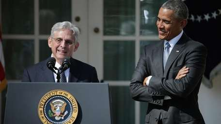 Judge Merrick Garland speaks after being introduced by