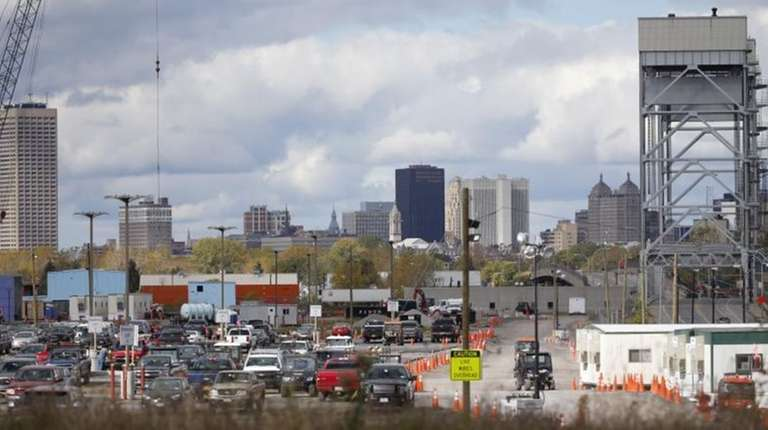 The Buffalo skyline is seen in this Saturday,