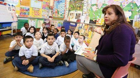Nathalie Dagrella teaches her pre-K class at Shepherd's
