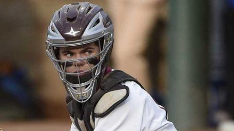 North Shore catcher Luke Salditt looks on