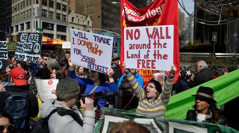 Anti-Trump protesters including Laura Merrill, seen in