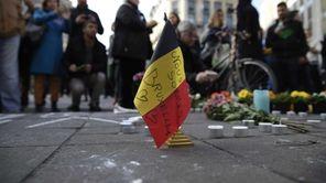 A Belgian flag reading