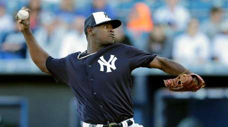 New York Yankees' Luis Severino pitches against the