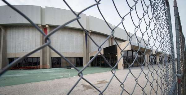 An exterior view of Nassau Coliseum in Uniondale