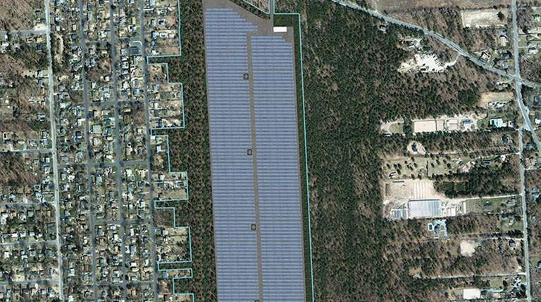 A rendering of the proposed Mastic solar farm