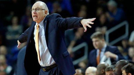 Miami head coach Jim Larranaga gestures during the