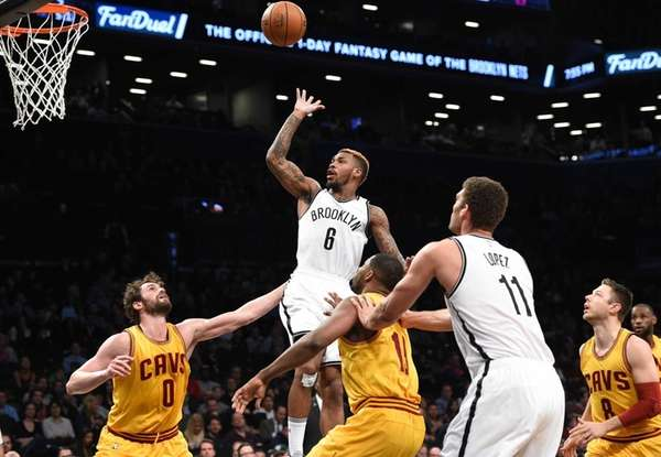 Brooklyn Nets guard Sean Kilpatrick sinks a basket