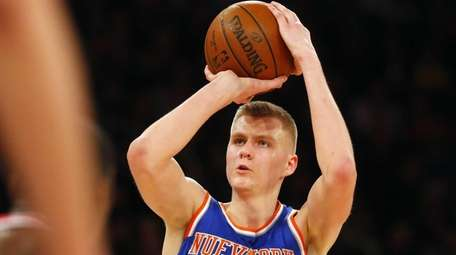 Kristaps Porzingis of the New York Knicks hits