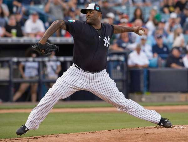 New York Yankees starter CC Sabathia pitches