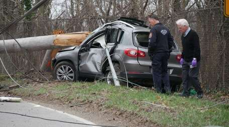 Nassau County police investigate a one-vehicle crash that
