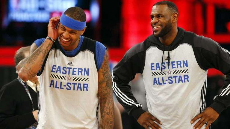 Carmelo Anthony, left, and LeBron James have a