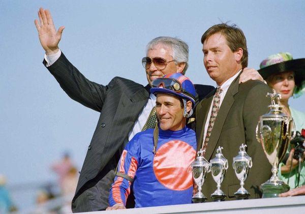 Trainer D. Wayne Lukas, left, jockey Gary Stevens,