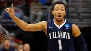 Jalen Brunson of the Villanova Wildcats reacts in
