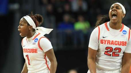 Syracuse's Alexis Peterson (1) and Taylor Ford (22)
