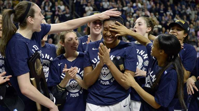 Connecticut's Breanna Stewart, left, and Moriah Jefferson, right,