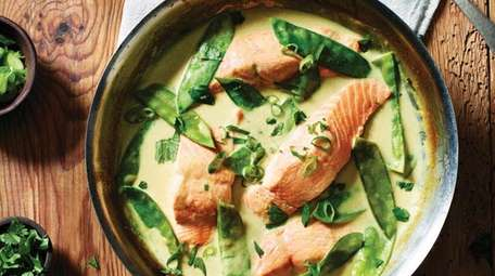 Green curry braised salmon from